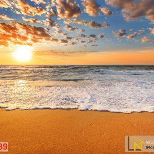 tranh dán tường 3d hoàng hôn trên biển