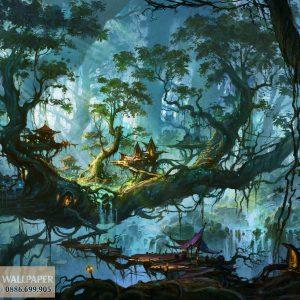 tranh dán tường cartoon 3d khu rừng ảo mộng