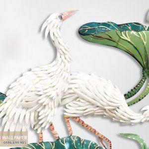 tranh 3d giả ngọc chim hạc và hoa sen