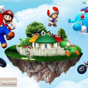 giấy dán tường 3d trẻ em Super Mario