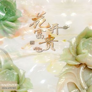 tranh 3d giả ngọc hoa mẫu đơn nở