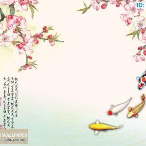 Tranh dán tường 3d cá chép và hoa anh đào