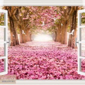 tranh dán tường cửa sổ 3d con đường hoa anh đào