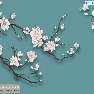 giấy dán tường 3d hàn quốc hoa anh đào
