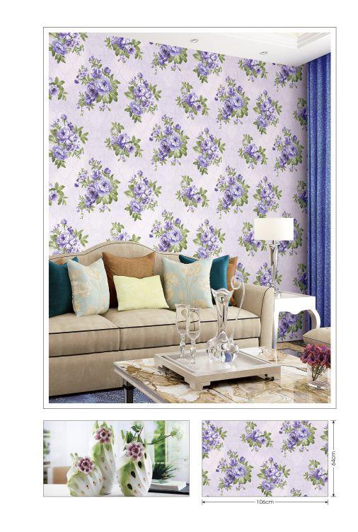 Giấy dán tường phòng khách hoa tím