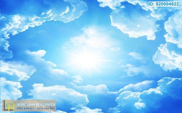 giấy dán tường 3d trần nhà bầu trời xanh
