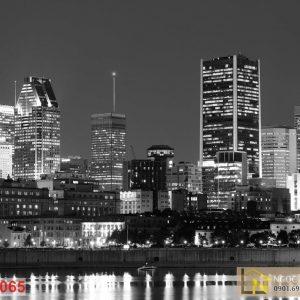Tranh trắng đen 3d đô thị Montreal