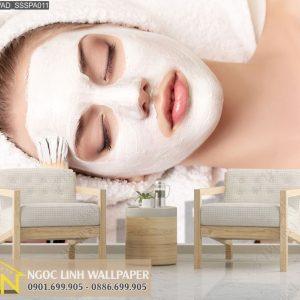 tranh giấy dán tường 3d spa mặt nạ dưỡng da