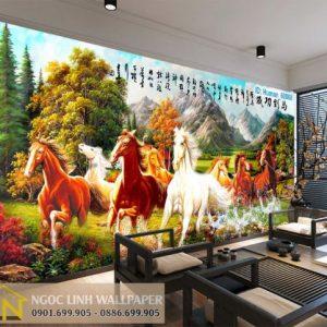 tranh dán tường 3d ngựa