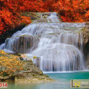 giấy dán tường 3d thác nước prajak mùa thu