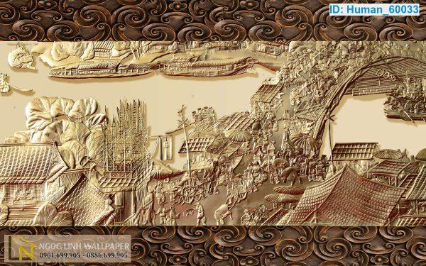 Tranh giấy dán tường 3d điêu khắc Tranh Điêu Khắc: Thanh Minh Thượng Hà Đồ
