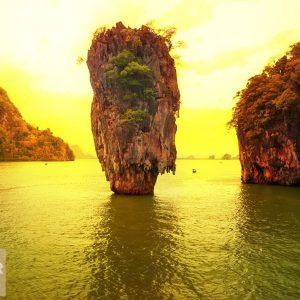 giấy dán tường panorama đảo James Bond