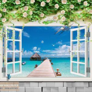 Tranh dán tường 3d cửa sổ đường đến chân trời