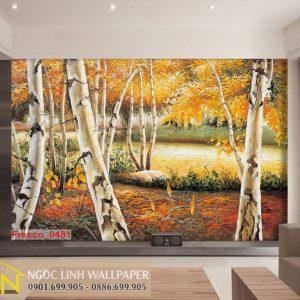 Tranh dán tường 3d sơn dầu khu rừng mùa thu
