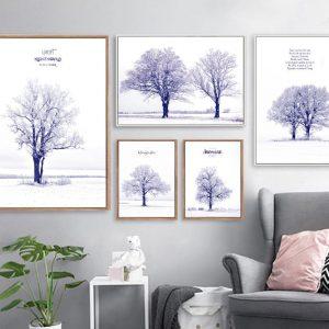 Tranh bộ treo tường màu tím mùa đông