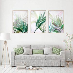 tranh treo tuong trang trí phòng khách bộ lá