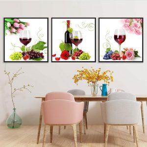 Tranh bộ treo tường ly rượu, hoa quả và hoa hồng