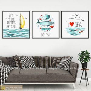 tranh treo tường cá và biển