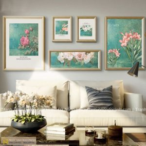 tranh treo tường hồng hạc và hoa