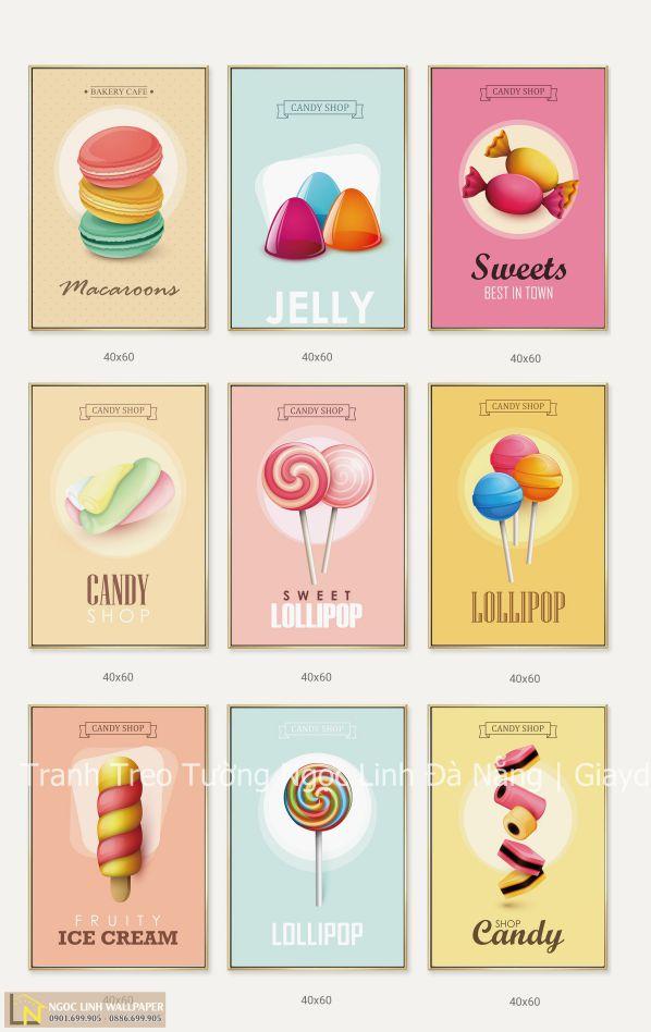 tranh treo tường kẹo và bánh