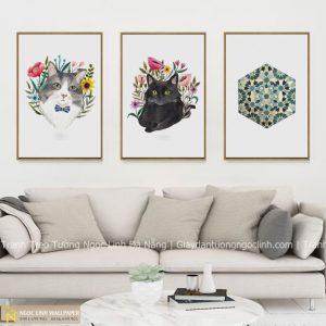 Tranh treo tường mèo và hoa