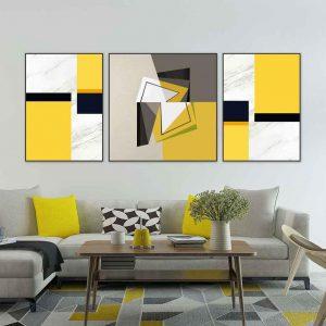 Tranh bộ treo tường vàng đen