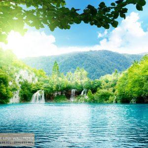 Tranh dán tường 3d thác nước trong xanh