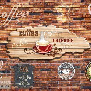 tranh dán tường 3d quán coffe
