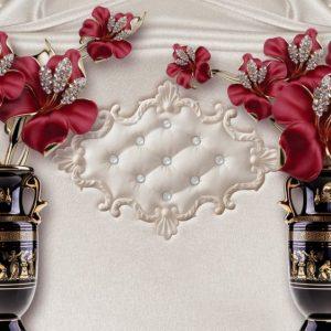Tranh 3d dán tường bình hoa đỏ đẹp
