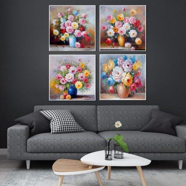 Tranh treo tường bộ bình hoa đẹp