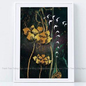 Tranh treo tường hoa sen và chim yến