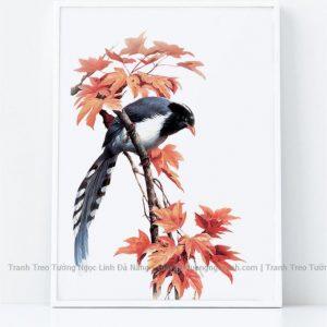 tranh treo tường lá phong và chim