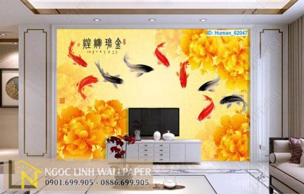 Phối cảnh tranh dán tường cá chép cửu ngư và hoa mẫu đơn