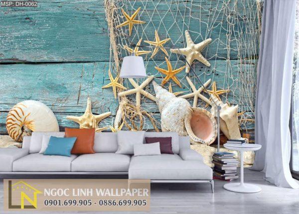 Tranh 3d dán tường phong cảnh biển lưới và ốc biển