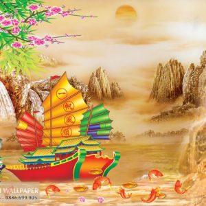 Tranh 3d cá chép cửu ngư và thuyền