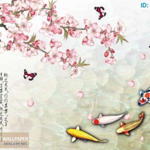 Tranh 3d cá chép dán tường lục ngư và hoa mẫu đơn