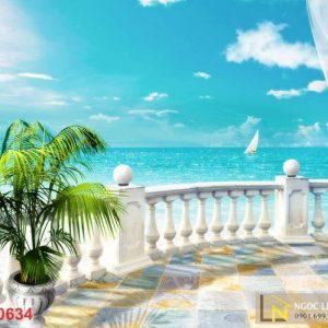 Tranh 3d châu âu dán tường ban công nhìn ra biển caribe