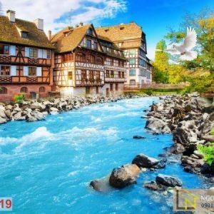 Tranh 3d dán tường châu âu đập nước thành phố Strasbourg