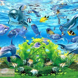 Tranh 3d phong cảnh biển đàn cá heo