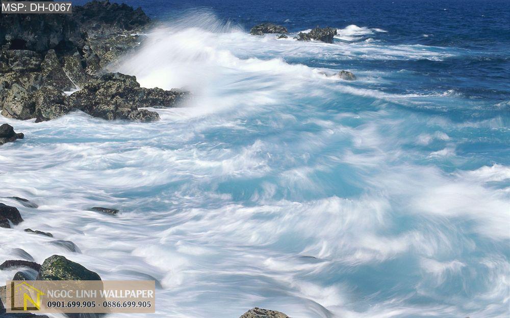 Tranh 3d phong cảnh biển sóng đánh