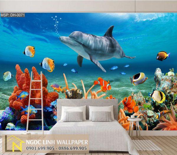Tranh dán tường 3d phong cảnh biển san hô và cá heo
