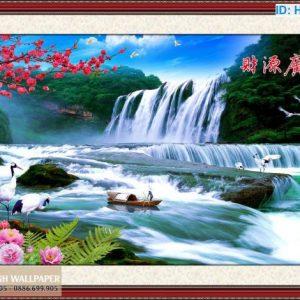 Tranh Dán Tường Phong Thủy Hạc, Hoa Anh Đào và Thác Nước