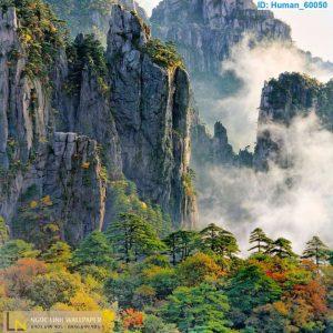 Tranh dán tường 3d phong thủy núi đồi tuyệt đẹp
