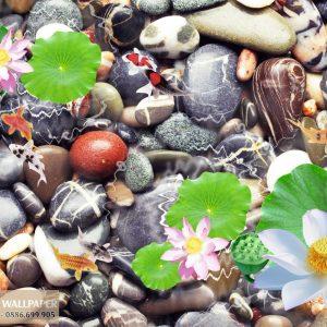 Tranh 3d dán sàn nhà hoa sen và đá