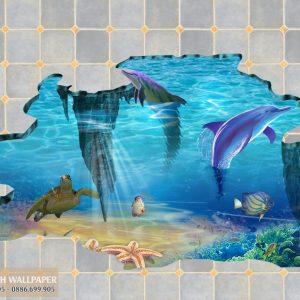 Tranh 3d dán sàn nhà khe nức gạch men cá heo và rùa