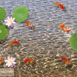Tranh 3d dán sàn nhà cá long nhãn và hoa sen