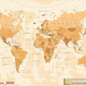 Tranh dán tường 3d cafe bản đồ thế giới