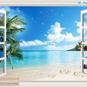Tranh 3d cửa sổ biển HaWaii