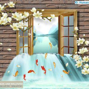 Tranh 3d cửa sổ cá chép bơi ngược dòng