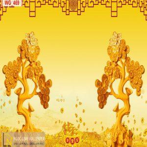 Tranh 3d điêu khắc cây kim tiền